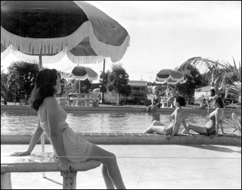 Residents by the pool: Miami, Florida (1953)