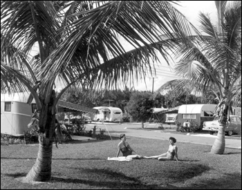 Unidentified women sunbath at the Hollywood Beach Trailer Park : Hollywood, Florida (1953)