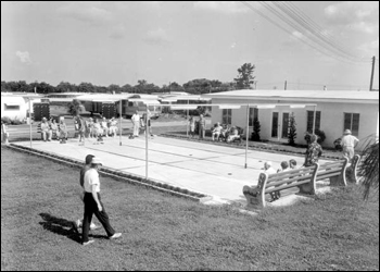 View of the shuffleboard court at the trailer park: Clearwater, Florida (1957)