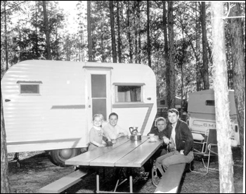 Visitors at the campground of the park: Thonotosassa, Florida (1961)