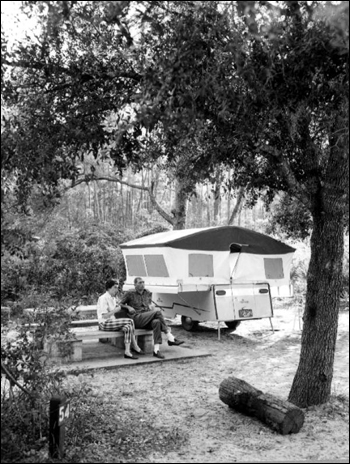 Campers in Ocala National Forest: Ocala National Forest, Florida (1961