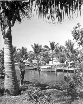 View of the Trailer park and boat area at Briny Breezes: Delray Beach, Florida (1963)