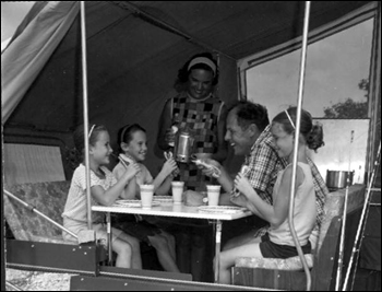 Family in their camping trailer: Monroe County, Florida (1966)
