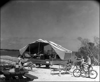 Family with their travel trailer: Monroe County, Florida (1966)