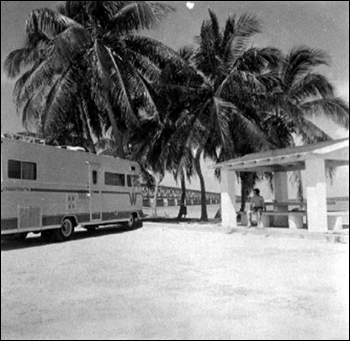 Campers at unidentified Florida Key's campground: Monroe County, Florida (1972)
