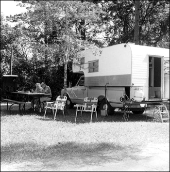 Unidentified people camping at Torreya State Park: Rock Bluff, Florida (1976)