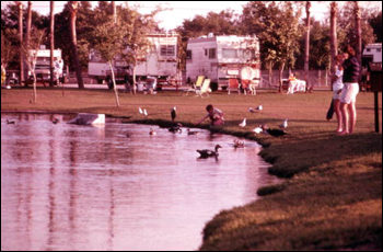 View of visitors feeding ducks near campers at the Busch Gardens amusement park: Tampa, Florida (19--)