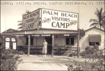 Unidentified woman standing in front of building at Layton's Cottage, Trailer, and Fishing Park: Riviera Beach, Florida (ca. 1938)