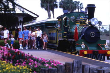 View showing visitors leaving train at the Busch Gardens amusement park in Tampa, Florida (after 1971)
