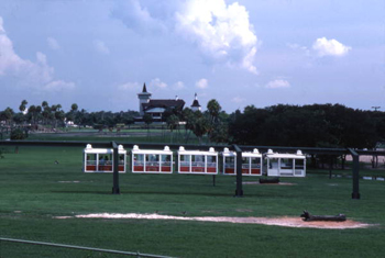 View of monorail at the Busch Gardens amusement park in Tampa, Florida (1977)