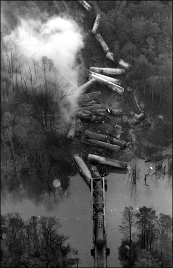 Aerial view showing train derailment in Crestview, Florida (ca. 1979)