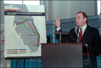 Robert Blanchette, President of TGV of Florida, Inc presents his proposal for the Bullet Train: Tallahassee, Florida (1988)