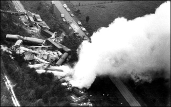 Train derailment releases toxic chemicals: Lake City, Florida (ca. 1985)
