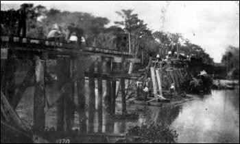 Train wreck at trestle: Arcadia, Florida (19__)