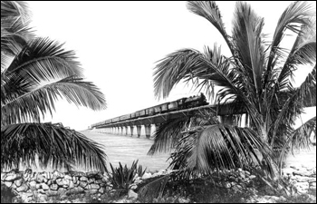 Florida East Coast Railway train traveling along Overseas Extension bridge (19__)