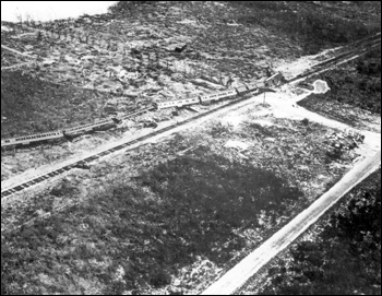 Aerial view of a train swept off its tracks by a hurricane: Florida Keys, Florida (1935)