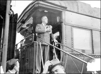President Franklin D. Roosevelt aboard train: Jacksonville, Florida (ca. 1943)