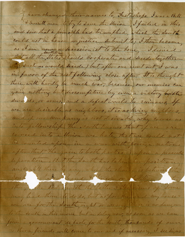 Letter of January 21, 1861, from E. J. Blackshear to Mrs. Pittman