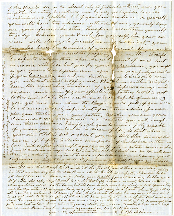 Letter of October 13, 1861, from E. J. Blackshear to My Dear Daughter