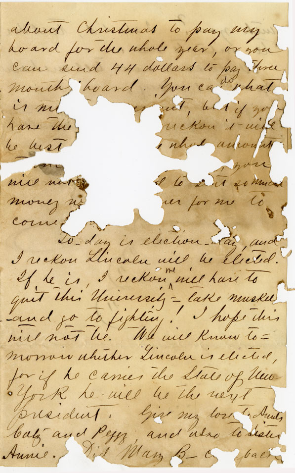 Letter of November 6, 1860, from J. D. Pittman to My Dear Mother