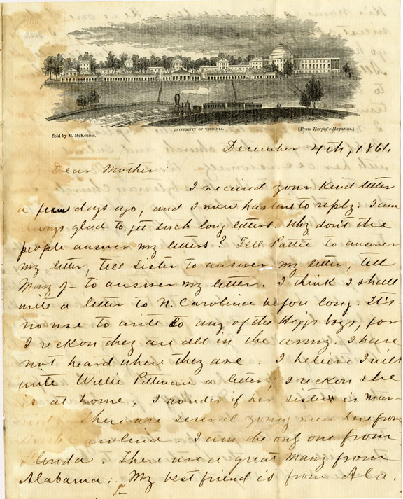 Letter of December 4, 1861, from J. D. Pittman to Dear Mother