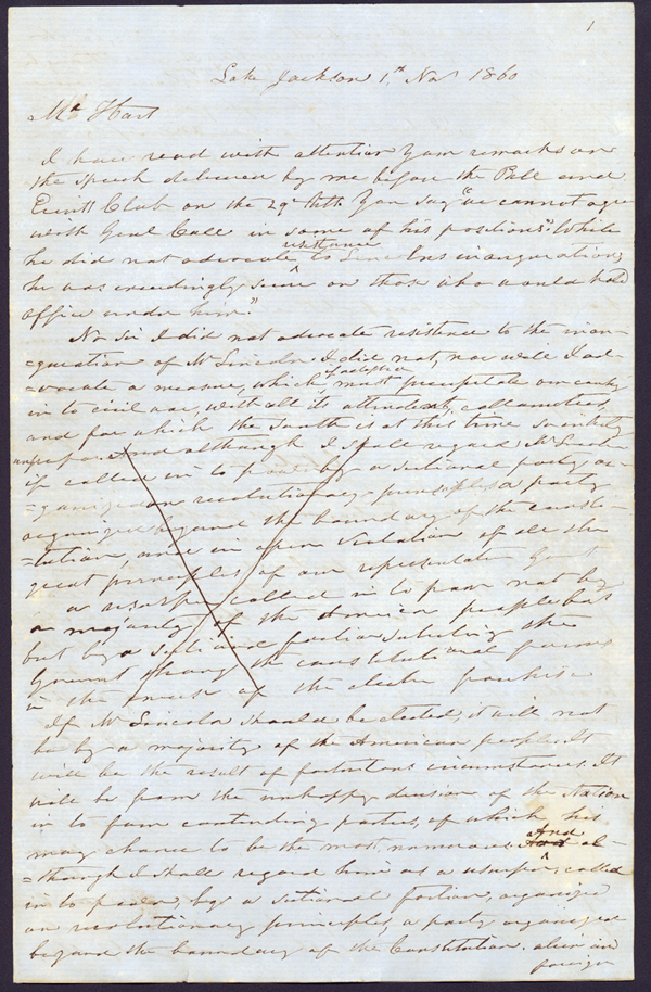 Draft of Letter, November 1, 1860, Richard K. Call, Lake Jackson, to Mr. Hart