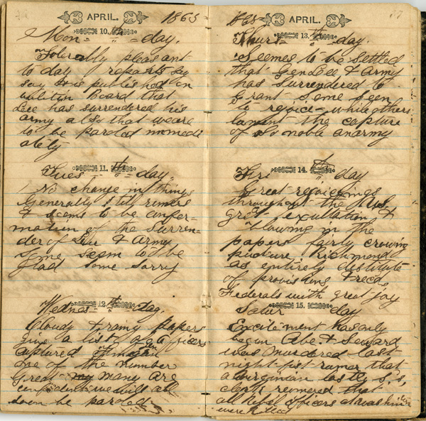 Wilber Wightman Gramling Diary, 1864-1865
