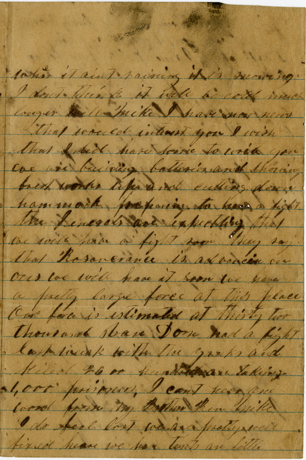 Francis R. Nicks Letter, 1863