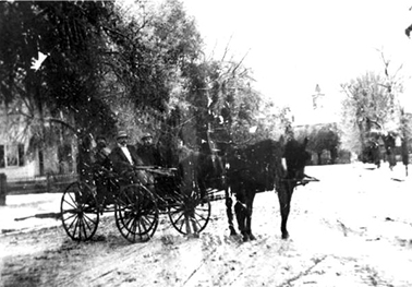 Men in horse-drawn wagon in a snow storm: Monticello, Florida