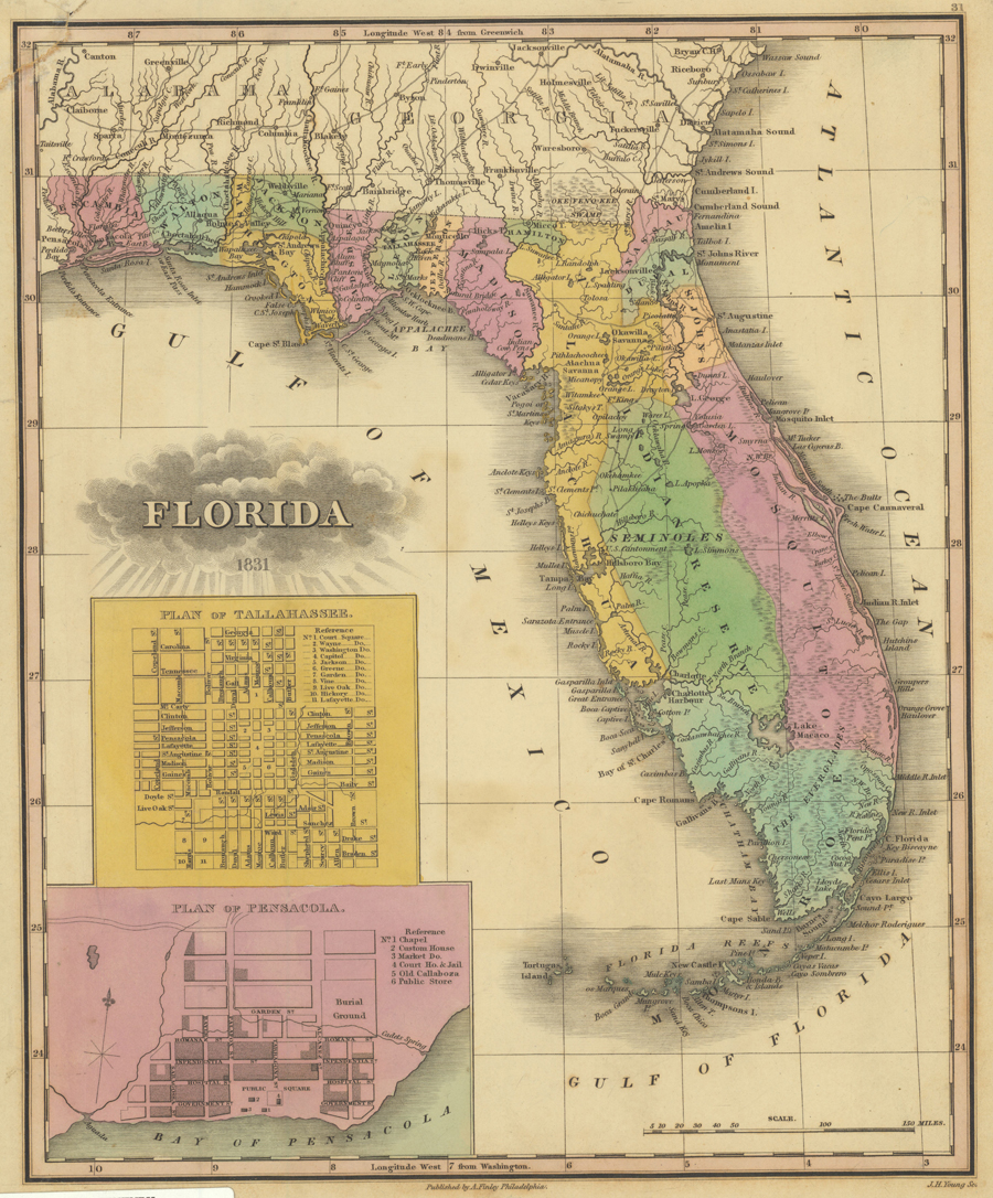 A. Finley's map of Florida (1831), showing Florida's current boundaries, except for a small error near the St. Marys River.