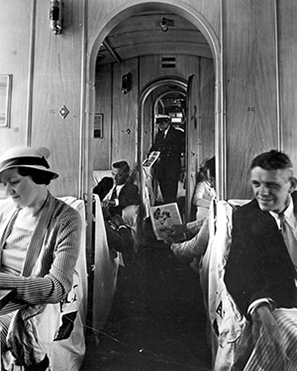 Interior view of Sikorsky S-40 plane with passengers - Miami, Florida