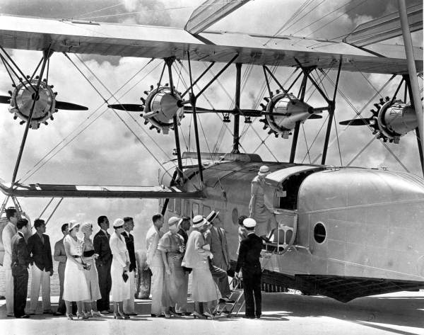 Passengers boarding a Sikorsky S-40 plane - Miami, Florida