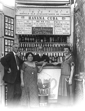 Postcard of couples in a tourist photo booth at Hardie's Bathing Casino during the prohibition - Miami Beach, Florida