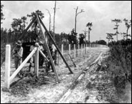 Fence construction at Highlands Hammock State Park (1931)