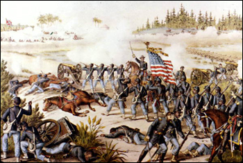 Painting of the Battle at Olustee: Olustee Battlefield, Florida