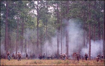 Re-enactment of battle during festival at Olustee Battlefield Historic State Park: Baker County, Florida (1994)
