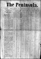 Front page of The Peninsula newspaper, dated March 3, 1864 : Fernandina, Florida