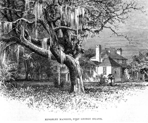Drawing of the Kingsley mansion at the Kingsley Plantation (1878)