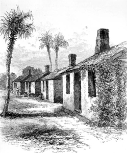 Drawing of tabby houses at the Kingsley Plantation (1878)