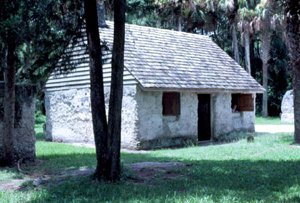 Reconstructed tabby slave cabin at Kingsley Plantation State Historic Site: Fort George Island, Florida (1982)