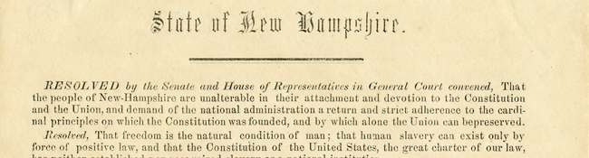 Anti-slavery resolutions from the State of New Hampshire to the State of Florida, December 1, 1858