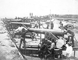 Columbiad guns of the Confederate water battery at the entrance to Pensacola Bay: Warrington, Florida (February 1861)