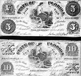Samples of paper money, issued by the State of Florida during the Civil War (1861)