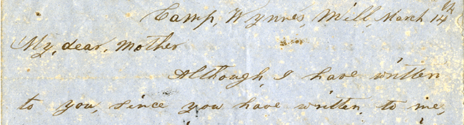 Edmond Powell to My Dear Mother, March 14, 1862