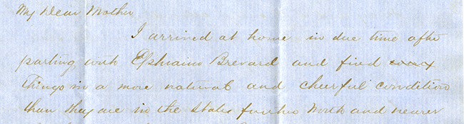W. B. to My Dear Mother, June 22, 1862