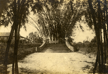 Bamboo Landing on the Estero River, the formal entrance to the Koreshan settlement in Estero, ca. 1900