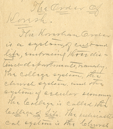 Final two pages of an original Cyrus Teed manuscript, 1889
