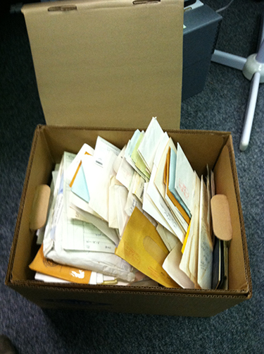 A typical box of Koreshan Unity Papers as it appeared upon arrival at the State Archives