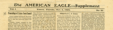 Recounting of the Ft. Myers brawl in the Unity's newspaper, The American Eagle
