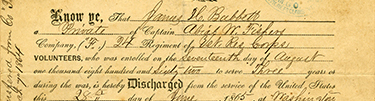Discharge papers of James Bubbett, 1865